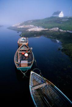 Three fishing boats moored together in Peggy's Cove, near Halifax, Nova Scotia, Canada | Blaine Harrington