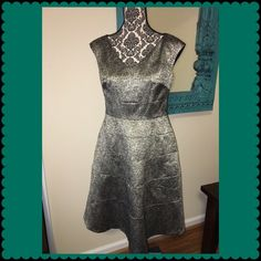 Anne Klein dress!  Beautiful dress! Excellent condition Anna Klein sheath dress. Zips up the back. Silver and black. Very figure flattering. Anne Klein Dresses Midi