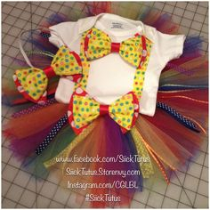 Clown inspired tutu, onesie and bows. Carnival party outfit. Perfect for a circus themed party. Custom ordered from www.facebook.com/SiickTutus SiickTutus.Storenvy.com $40.00
