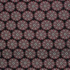 """Red Indian Floral Circle on Black Cotton Spandex Blend Knit Fabric - Red indian ethnic design floral circle pattern on a black lightweight cotton spandex rayon blend knit.  Fabric is soft with a nice drape and four way stretch.  Circle measures 2 1/4"""".  ::  $6.00"""