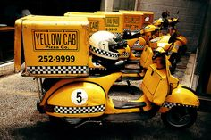 """#Yellow and #checkered #delivery #Vespa #scooter.  """"Yellow Cab Pizza Co."""" #Pittsburg, #California, #EastBay"""