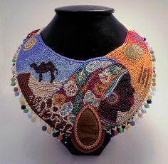 Купить Роза пустыни - колье, бисер, украшение, африка, африканские мотивы, разноцветный