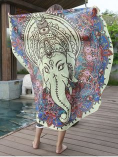 SHARE & Get it FREE | Elephant Pattern Chiffon Cover Up Women's SarongFor…
