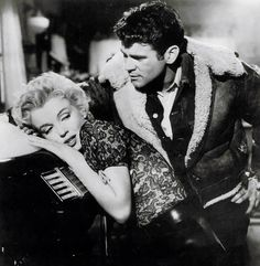 """Marilyn and Don Murray on the set of """"Bus Stop"""", 1956."""