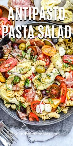 easy antipasto pasta salad recipe is made with cherry tomatoes, pasta, meat, cheese, and homemade Italian dressing! This fun pasta salad is full of colors and is one of the best dishes to bring to a summer picnic or barbecue! Antipasto Pasta Salads, Anti Pasta Salads, Pasta Salad Recipes, Antipasta Salad Recipe, Homemade Pasta Salad, Taco Salads, Meat Salad, Soup And Salad, Salads With Meat