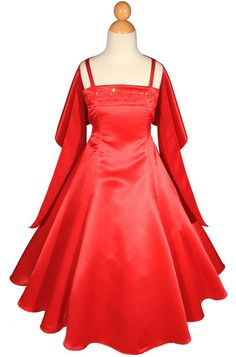 Girls Floor Length Red Satin Flower Girl Wedding Formal Pageant Dress A1402 #Dress #FlowerGirlDressPageantDressFormalDress