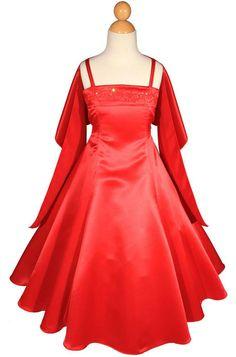 Girls Floor Length Red Satin Flower Girl Wedding Formal Pageant Dress A1402 #Dress #FlowerGirlDressPageantDressFormalDress