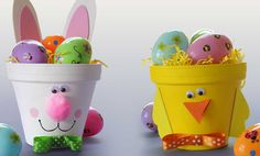 Crafts n' things Weekly - chick & bunny clay pots