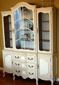 Annie Sloan Chalk Painted Hutch — just for colors--ochre and white