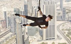 Fun Fact Friday: Tom Cruise performed the sequence where Ethan Hunt scales the outside of the Burj Khalifa tower WITHOUT the use of a stunt double. Ethan Hunt, Tom Cruise, Mission Impossible 4, Ghost Protocol, Stunt Doubles, High Building, Nicolas Cage, Hollywood Actor, Stunts