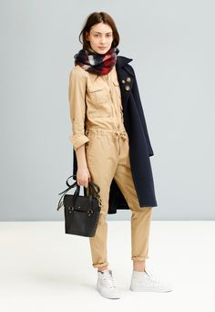 Madewell military swing coat worn with cargo flightsuit + plaid scarf | Madewell Fall 2014 collection.