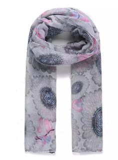 Ladies Scarf Pashmina Floral Print Gray Pink SS17 New Designs Shawls   #Intrigue #Scarf