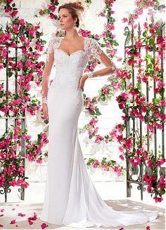 36d38983b4e4 Glamorous Tulle   Chiffon Long Sleeves Queen Anne Neckline Natural  Waistline Sheath Wedding Dress Svadobné Šaty