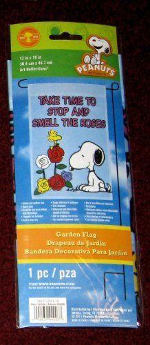 """SNOOPY MINI FLAG 12""""x18""""~TAKE TIME TO STOP AND SMELL THE ROSES~NEW, SEALED IN PACKAGE . $16.99. ROSES. SNOOPY. FLAG. PEANUTS. This is a brand new, sealed in original package Snoopy flag showing Snoopy smelling the colorful roses along with Woodstock. This flag measures 12"""" x 18"""" and can be used for indoors (wall, dorm, office, hospital or nursing room wall, door or inside your window) or outdoors (porch, flagpole, inside your car). Snoopy flags make nice gifts..."""