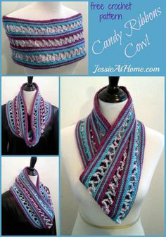 20 Terrific FREE Crochet Patterns for Practicing Tall Stitches: Candy Ribbons Cowl Free Crochet Pattern