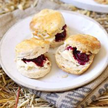 Apple scones with blackberry compote