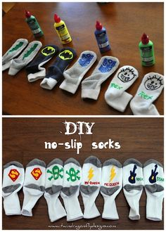 DIY No Slip Gripper Superhero Socks for Kids or Adults. Two Tutorials: First from I Am Momma Hear Me Roar here(TOP PHOTO. This one is more complete with instructions and a video), second one from Twin Dragonfly Designs here (BOTTOM PHOTO). o.O