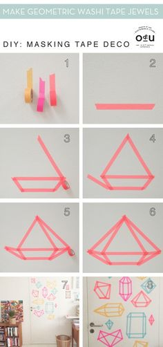 The best DIY projects & DIY ideas and tutorials: sewing, paper craft, DIY. Diy Crafts Ideas A fun little washi tape decor project. Deco Tape, Fun Crafts, Diy And Crafts, Diy Crafts For Room Decor, Cheap Diy Dorm Decor, Diy Room Decor For College, Diy Room Decor For Girls, Diy Crafts For Girls, Tape Crafts