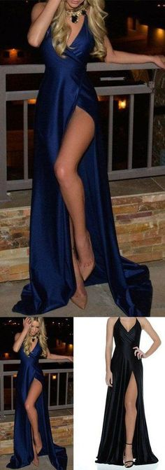 Royal Blue Prom Dresses,Long Prom Dresses,Cheap Prom Dresses,slit Evening Dress Prom Gowns,satin Formal Women Dress For Teens #eveningdresses