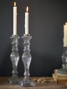 Two Fluted Glass Candlesticks - Candles & Holders - Decorative Home - Home