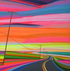 L'américain Grant Haffner peint à l'acrylique sur des panneaux de bois des paysages vus d'une route sous des couchers de soleil aux couleurs fluo électrisantes parsemés uniquement de quelques pylônes