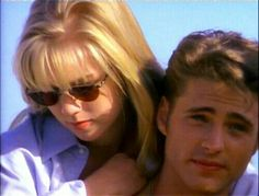 Jennie Garth and Jason Priestly as Kelly Taylor and Brandon Walsh on, Beverly Hills 90210