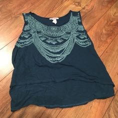 Summer flow shirt! Darkish blue-green colored, worn twice, and in great condition! Perfect for Spring and Summer. Body Central Tops Crop Tops