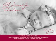 All I Want For Christmas  Birth Announcements by PaperCutCouture, $45.00