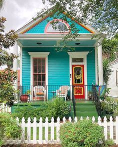 """@archi_ologie on Instagram: """"No Name Thursday Bright and colorful two bay shotgun house. So happy. Thanks for tagging #archi_ologie Reposted from @homesofneworleans So…"""" Shotgun House, Cottage Style Homes, Exterior Colors, Gazebo, Outdoor Structures, Doors, Bright, Mansions, Architecture"""