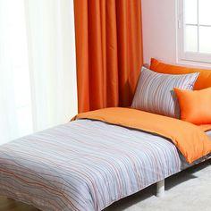 820TC Modern Gray & Orange Stripe Queen Duvet Cover Set by BHDecor