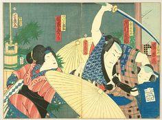 Dynamic Umbrellas and a Sword - kabuki by Yoshiiku Utagawa 1833-1904 #Utagawa #Woodblock