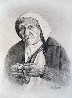 Mother Teresa III Preliminary Sketch - Marc Alexander Missionaries Of Charity, People Figures, Mother Teresa, Drawing Tutorials, Roman Catholic, Art Pictures, Sketches, Drawings, Illustration