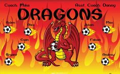 Dragons-42487 digitally printed vinyl soccer sports team banner. Made in the USA and shipped fast by BannersUSA. www.bannersusa.com