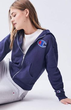 Layer up this season in the Reverse Weave Full Zip Hoodie by Champion. This classic hoodie features a full zipper front closure, long sleeves, side pockets, logo patch at the left chest, and a drawcord hood. Full Zip Hoodie, Champion, Weaving, Seasons, Hoodies, Long Sleeve, Sleeves, How To Wear, Jackets