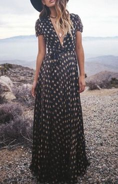 Gypsy Style | full star print short sleeve maxi dress maxi dresses 278