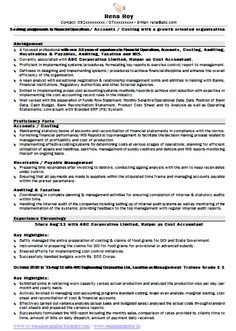 Resumen Samples Chartered Accountant Resume Format Freshers Page 2  Chartered .
