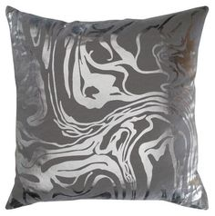 Marble Metallic Silver Gray Throw Pillow - modern design ideas for living room decorating. #silver #metallicpaintedfurniture