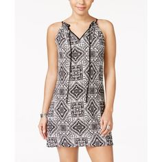 Speechless Juniors' Printed Front-Tie Shift Dress ($33) ❤ liked on Polyvore featuring dresses, boho style dresses, speechless dresses, tie front dress, shift dress and pink bohemian dress