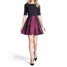 ジョシー・メタリックジャカード・フレアドレス #Party #Wedding #Dress #Purple