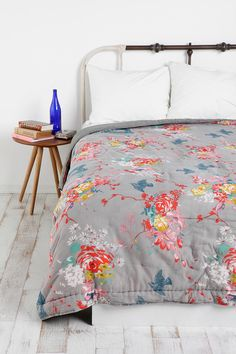 bedspread  // love the brights on grey