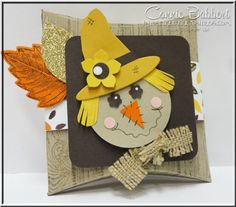 Scarecrow, Punch Art, Stampin' Up!, #stampinup, Fall, Favor, treat, Square Pillow Box, Into the Woods, Vintage Leaves, created by Connie Babbert, www.inkspiredtreasures.com