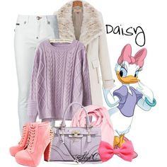 """Daisy Duck - Winter - Disney"" by rubytyra Disney Themed Outfits, Disneyland Outfits, Disney Bound Outfits, Modern Princess Outfits, Duck Costumes, Halloween Costumes, Disney Inspired Fashion, Disney Fashion, Cute Disney Pictures"