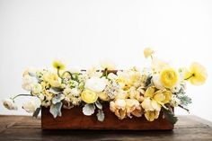Natalie Bowen Designs - Brown Wood Box filled with yellow, grey and white flowers