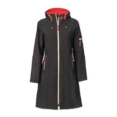 Contrast Raincoat Long Raspberry