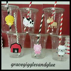 12 Farm Animal Themed Party Cups with Striped Straws and Lids!, Barnyard Bash…