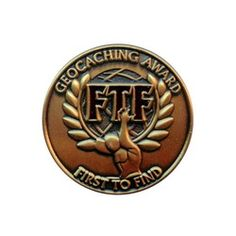 Geocaching Award - First To Find, antique gold