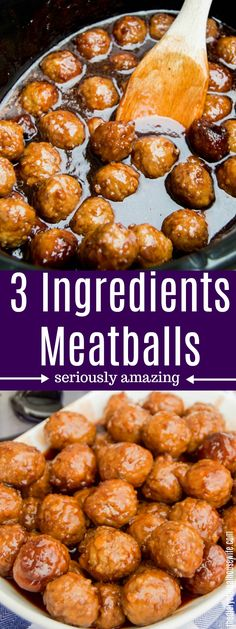 3 Ingredients Meatballs - The Diary of a Real Housewife Slow Cooker Appetizers, Slow Cooker Recipes, Appetizer Recipes, Cooking Recipes, Healthy Appetizers, Hamburger Meat Recipes, Meatball Recipes, Crockpot Recipes, Meatball Appetizers
