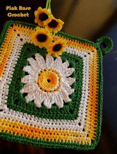 Pega Panelas e Centrinho Coaster Margarida - Crochet Daisy Pot Holders