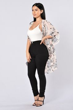 - Available in Soft Floral - Draped Open Front - Oversized - Floral Print - Semi-Sheer - 100% Polyester