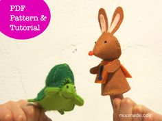 Hare & Tortoise: PDF Sewing Pattern and Tutorial for 2 Finger Puppets - DIY / Animal / Felt toy / Decoration /Aesop Fables